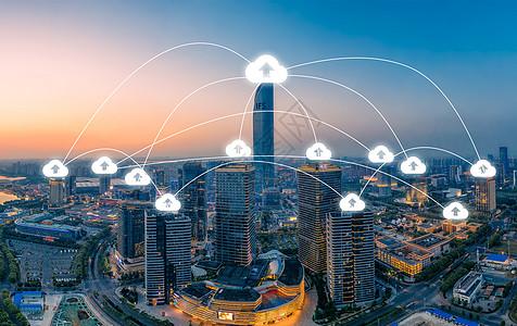 城市景观和互联网网络连接云技术的交流 图片