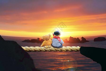 看日出的娃娃熊图片