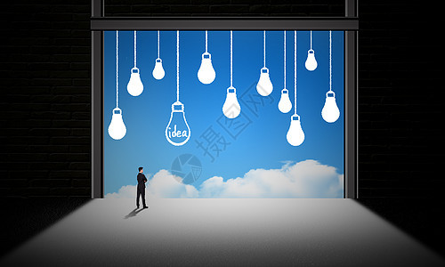 灯泡想法idea云概念图图片