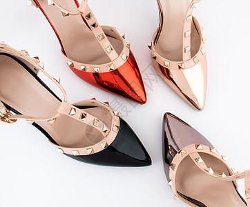 时尚多彩高跟鞋组合静物图片