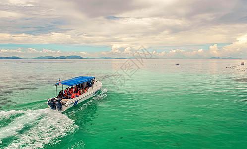 蓝天白云,大海快艇图片