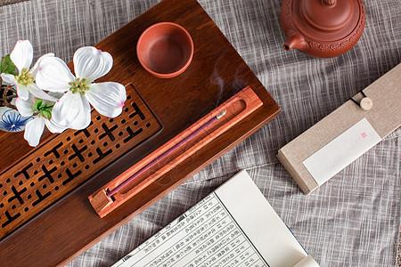 禅意点香喝茶茶道生活境界图片