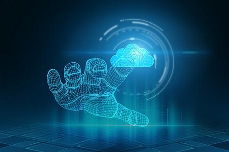 蓝色网络云端服务图片
