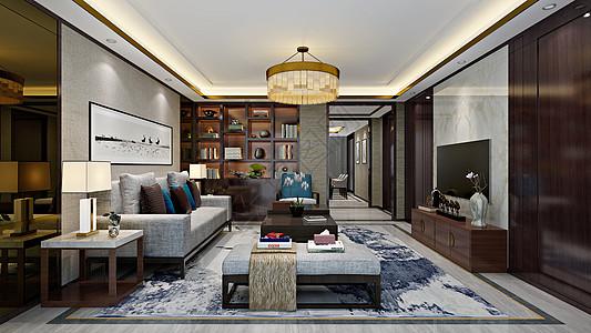 新中式客厅室内设计效果图图片