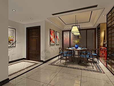 新中式风餐厅室内设计效果图图片