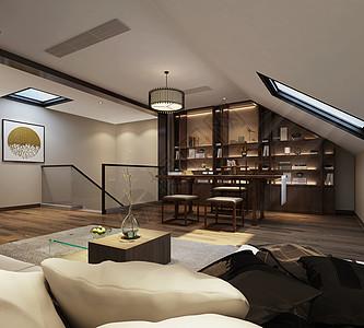 新中式风格茶室室内设计效果图图片