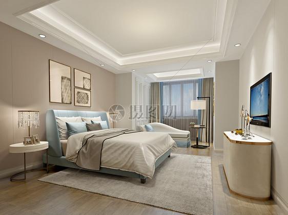 现代简约风温馨卧室室内设计效果图图片