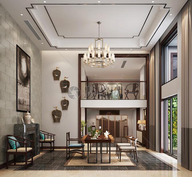新中式风格餐厅室内设计效果图