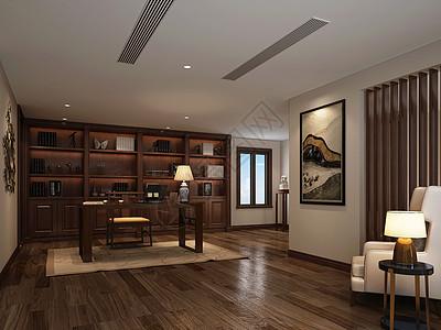 中式风格书房室内设计效果图图片