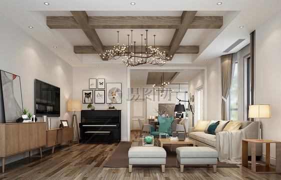 北欧原木现代简约客厅室内设计效果图图片