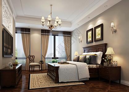 中式风卧室室内设计效果图图片