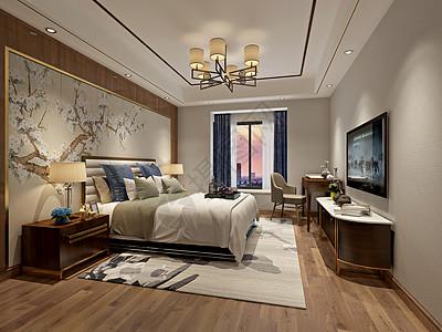 新中式风格卧室室内设计效果图图片