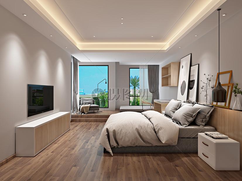 北欧风格简约卧室室内设计效果图