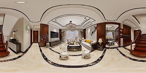 新中式风格客厅室内设计效果图图片