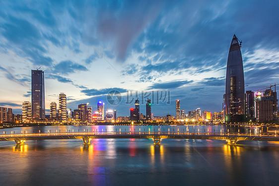 城市黄昏夜景素材图片