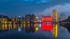 武汉水果湖汉街汉秀剧场夜景全景接片图片