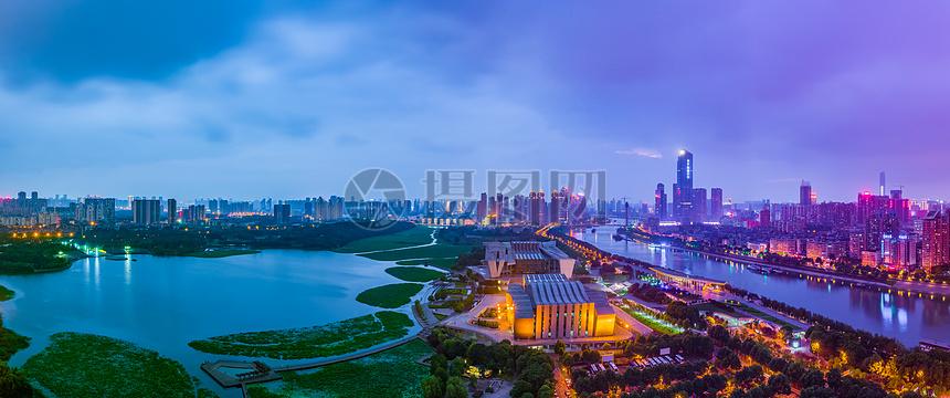 武汉汉阳月湖风景区全貌接片图