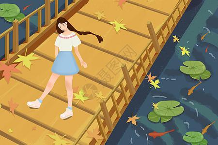 池塘边的少女插画图片