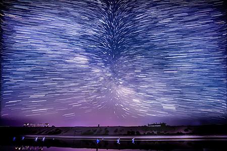 青海湖星空星轨图片