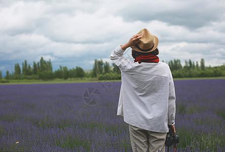 薰衣草前的女性背阴图片