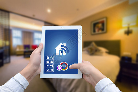 酒店房间环境平板电脑科技背景图片