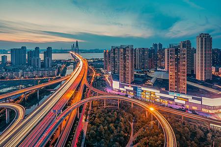 武汉城市夜景二七长江大桥图片
