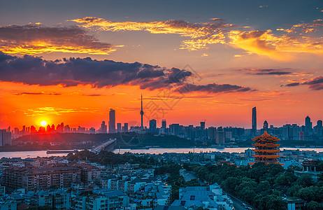 武汉城市风光日落时分的长江大桥黄鹤楼图片