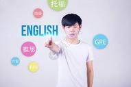 大学生手点英语学习英语图片