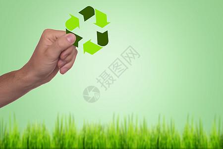 创意手捏生态循环图标图片
