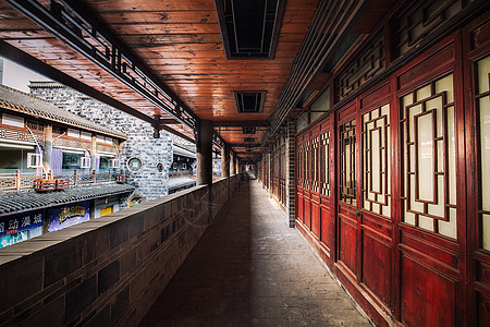 中国古建筑走廊图片