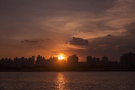 美丽上海黄埔江夕阳图片