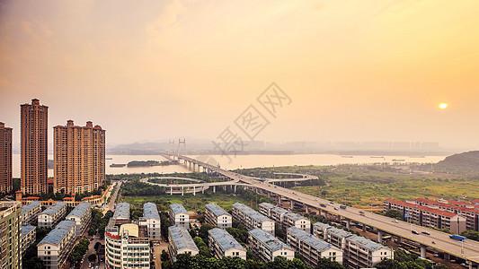 长沙三汊矶大桥日落图片