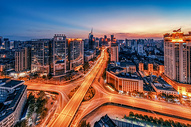 武汉黄昏解放大道立交桥图片