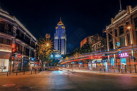 武汉黄昏中山大道江汉路步行街图片