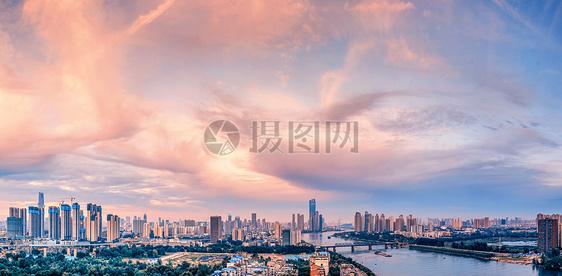 武汉城市风光汉江全景图片
