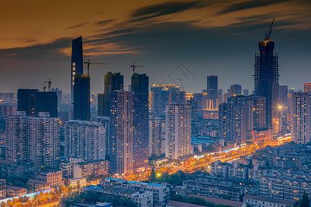 武汉城市风光高楼夜景图片