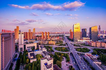 武汉黄昏长江二桥车轨图片