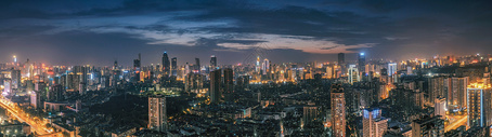 武汉黄昏城市夜景图片