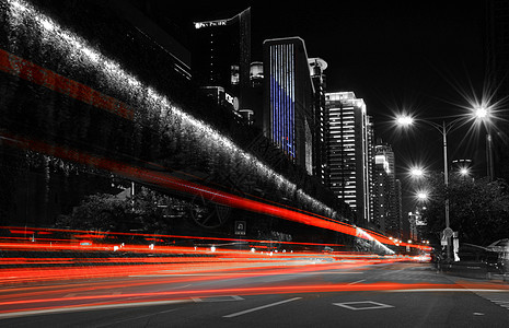 厦门街道夜景车灯光影轨迹图片