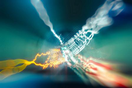 隧道车灯光影图片