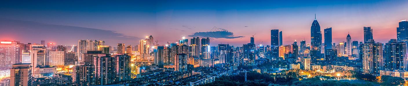 武汉黄昏西北湖夜景超广角图片