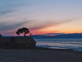 夕阳西下贝加尔湖图片