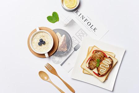 早餐三明治摆盘素材图片