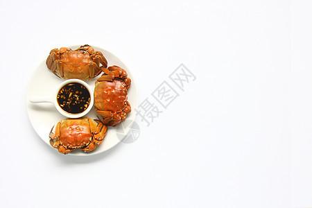 美味大闸蟹螃蟹白底背景素材图片