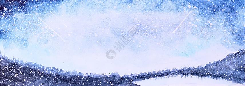 星空湖水 图片