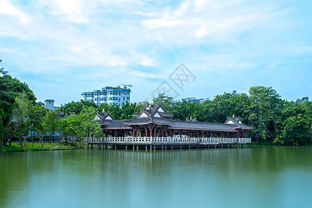 中国风古建筑自然风景天际线背景图片
