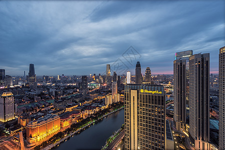魅力晚霞海河夜景图片