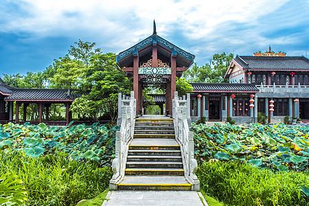 城市中国风古建筑亭台背景图片
