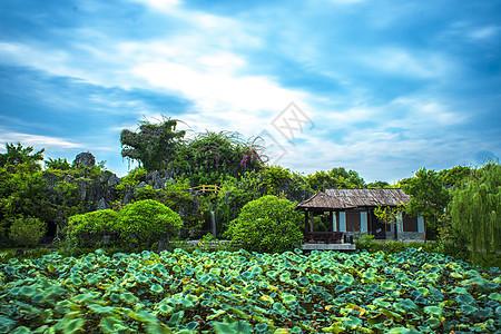 中国风古建筑城市自然风光背景图片