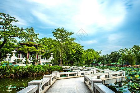 中国风古建筑石板桥背景图片